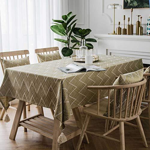 Waterdichte golvende driehoekige Jacquard tafelkleed huishouden eettafel deken salontafel handdoek 135 * 260 Vagues Jaunes Quatre Tassans Blancs