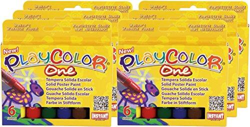 Playcolor 421975 - Pack de 6 temperas solidas 10 gr, multicolor