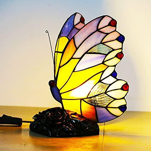 FVDS Lámpara de mesita de Noche de la luz de la Noche de la luz de la Mariposa Lámpara de Noche, E14, para la Sala de Estar Habitación para niños (Color : Purple)