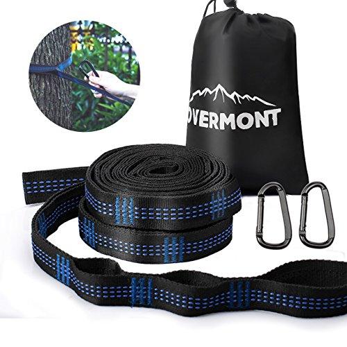 Overmont ハンモックベルト ハンモックストラップ 2本セット 専用収納バッグ付き (長さ300cm ノード18個 耐荷重量800kg) キャンプ アウトドア用 無期限保証