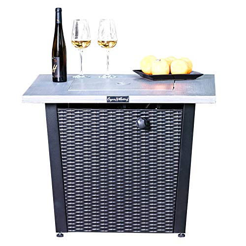 LEGACY HEATING 32inch Square Fire Pit with Grey Brushed Table Top and Steel Wicker Base (Grey)