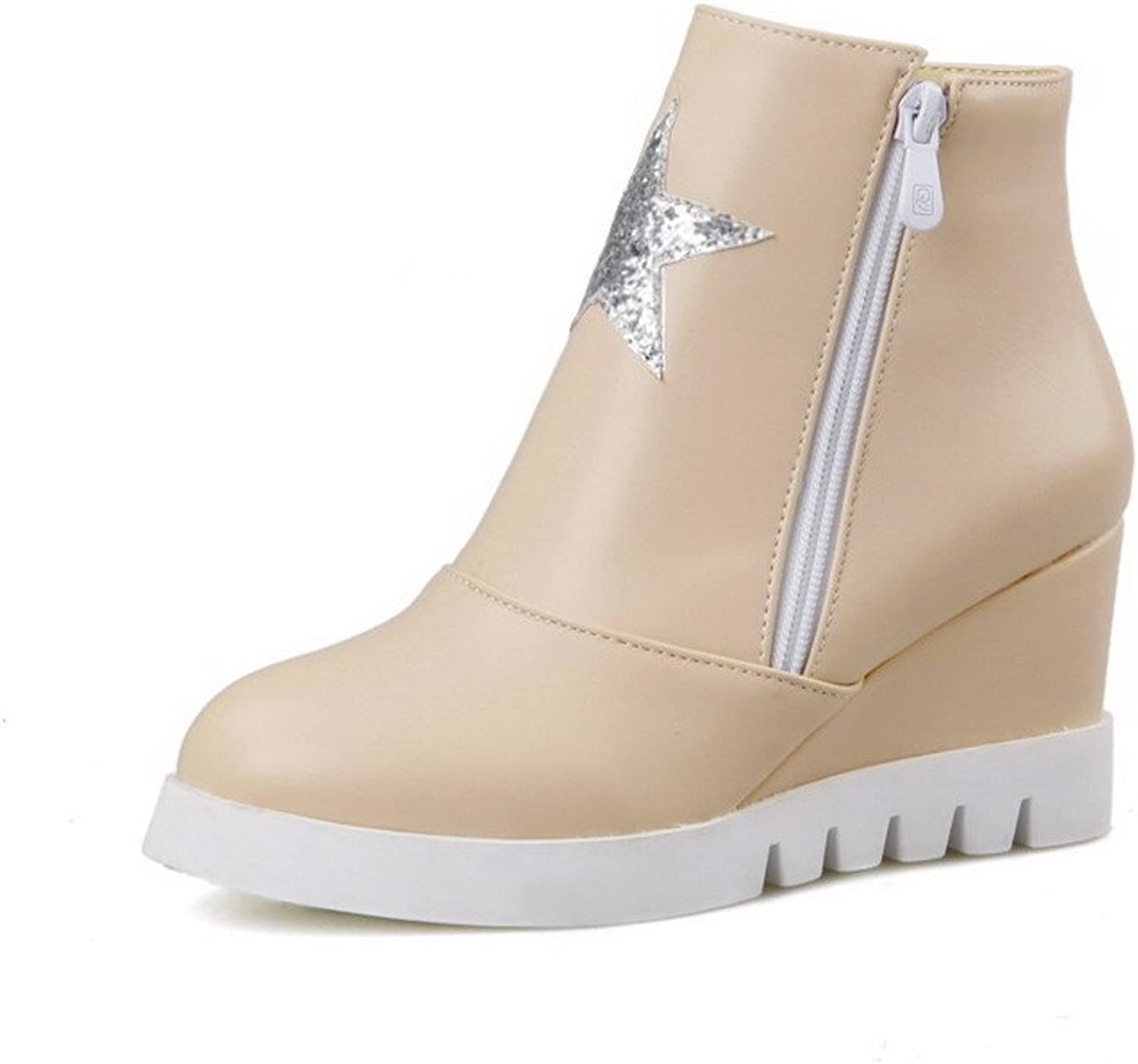 WeenFashion Women's Low-top Solid Zipper Round Closed Toe High-Heels Boots