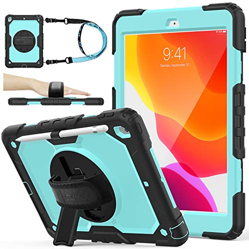 SEYMAC stock iPad 8th/7th Generation Case, [Full-body] [Drop-Proof] Protection Case with [360 Rotate Stand] Hand Strap [Screen Protector] [Pencil Holder] for iPad 8th/7th Gen 2020/2019 (Skyblue+Black)