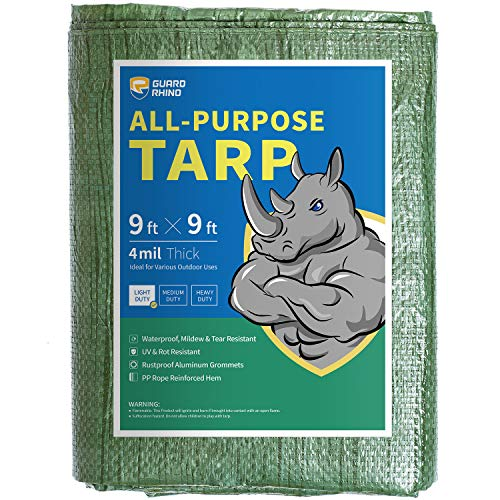 GUARD RHINO Tarp 9x9 Feet Green Multi Purpose Waterproof Poly Tarp Cover 4mil