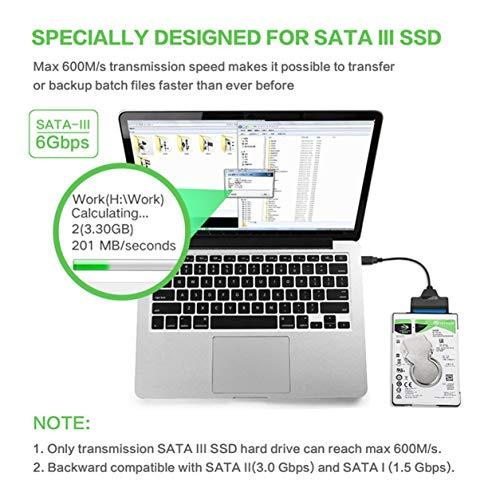 Kongqiabona-UK Cable Adaptador SATA USB Convertidor de Transferencia de Datos SATA a USB3.0, Compatible con Disco Duro SATA de 2,5 Pulgadas HDD SSD para computadoras portátiles de Escritorio