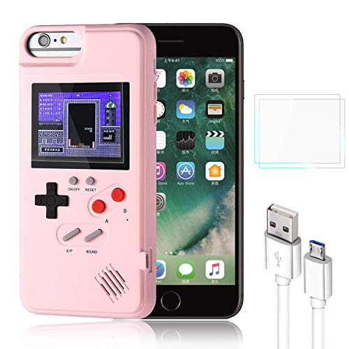 Bangting Handheld Game Console Phone case with 2 Game Screen Protector - Retro 3D Phone Protective case with 36 Classic Game - Video Game Phone Case Compatible with iPhone (Pink, iPhone 11)
