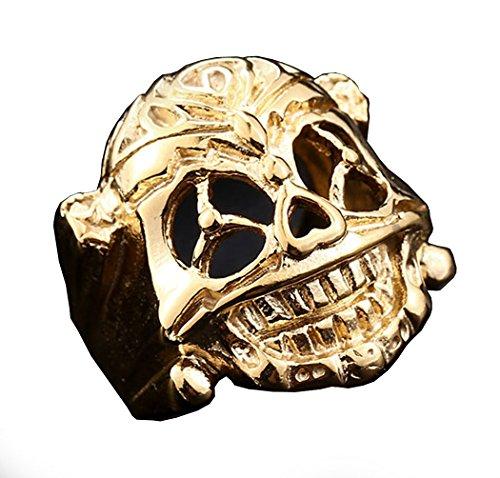 PW 精良SUS316L製 銀 金 黒 スタローン エクスペンタブルズ ラッキーなスカル 指輪 【ラッピング対応】