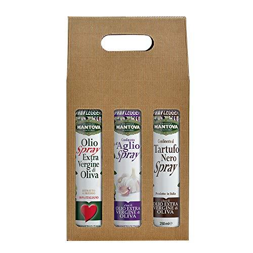 Confezione 3 x 250 ml spray: olio extravergine d'oliva, condimento all'aglio e al tartufo nero
