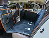 Dog Seat Cover for Back Seat, Waterproof Dog Hammock Scratchproof Pet Seat Covers with Mesh Visual Window Side Flaps & 2 Dog Seat Belts, Washable Nonslip Seat Protector for Cars Trucks and SUVs