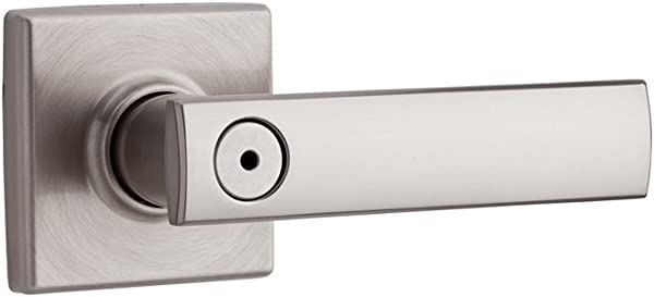 Kwikset Vedani Bed Bath Lever Lever In Satin Nickel