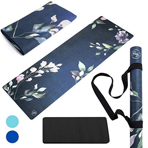 June & Juniper Travel Yoga Mat Foldable Lightweight - Thin Light Non-Slip Travel Yoga Mat Eco (Secret Garden)