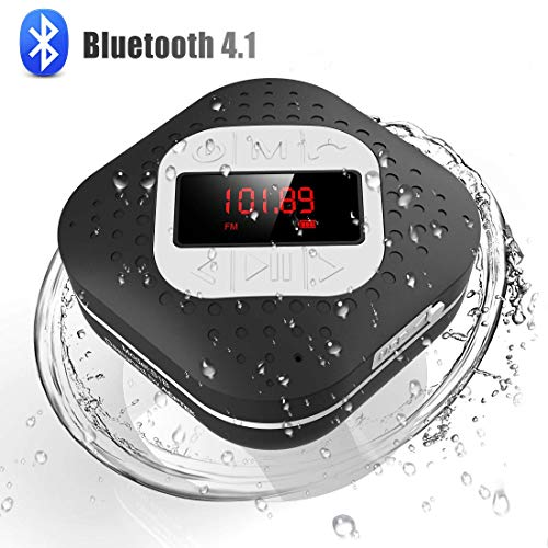 Waterproof Bluetooth Shower Speaker Radio with LED Screen, AGPTEK Handsfree Portable Wireless Speaker with Suction Cup, Built-in Microphone FM Radio for Bathroom, Pool, Car, Beach, Kitchen, Black