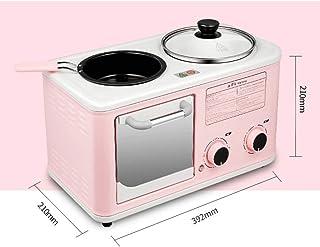 JYDQB 3-in-1 Deluxe Petit déjeuner Station, Rose déjeuner Station Grille-Pain avec minuterie, crêpière, Medium (Color : Pink)