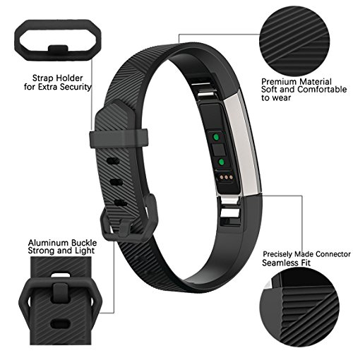 Maledan Replacement Bands Compatible for Fitbit Alta, Alta HR and Fitbit Ace, Classic Accessories Band Sport Strap for Fitbit Alta HR, Fitbit Alta and Fitbit Ace, 3 Pack, Black/White/Gray, Small