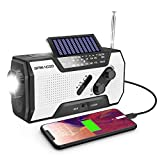 Emergency Weather Solar Crank AM/FM NOAA Radio with Portable 2000mAh Power Bank, Bright Flashlight and Reading Lamp for Household Emergency and Outdoor Survival