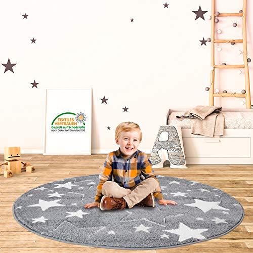 MyShop24h Teppich Rund Kinderzimmer Stern Grau 160x160 cm Kurzflor Kuschelig Deko Kinderteppich für Jungen und Mädchen Oeko Tex 100 Standard