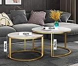 Mesas nido redondas, juego de mesa auxiliar negra con tablero de aspecto de mármol y sofá con estructura de metal, mesa auxiliar mate, mesa auxiliar de esquina,Oro