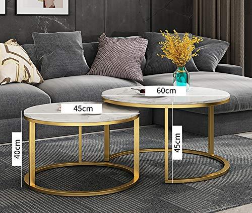 Juego de 2 mesas auxiliares redondas, mesa de centro pequeña mate, mesas nido, madera y metal, cromado,Oro