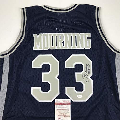 Autographed/Signed Alonzo Mourning Georgetown Blue College Basketball Jersey JSA COA