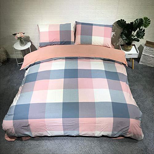 DLSM lattice Cotton washed cotton sheets, bed sheet quilt cover, four-piece set,bedding with pillowcase, super soft cotton design-C1_2m bed 220 * 240
