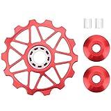 tbest ruote fantino per deragliatore posteriore per bici 14t mountain road bike cuscinetti in ceramica per metallo ruota fantino cambio per puleggia guida rullo accessori per ciclismo(rosso)