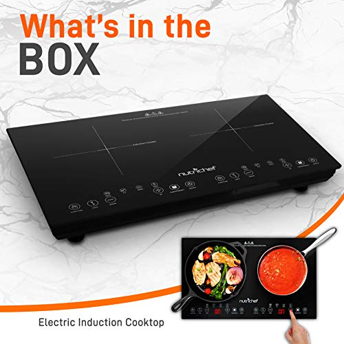 Product Image 7: NutriChef Double Induction Cooktop 120V Portable Digital Ceramic Dual Burner w/Kids Safety Lock-Works with Flat Cast Iron Pan,1800 Watt,Touch Sensor, 12 Controls PKSTIND48