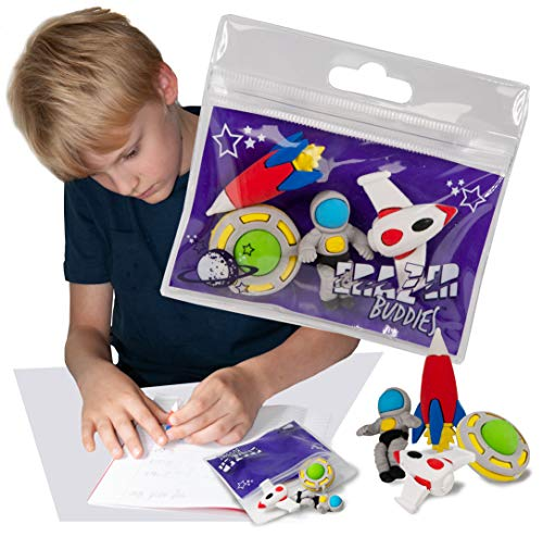 Erazer Buddiez - El Espacio de Deluxebase. Gomas de borrar con diseño espacial para niños y niñas. Colorido set de borradores de lápiz, ideal para útiles escolares y artículos de oficina