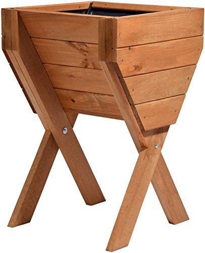 dobar décoratif Plate-Bande surélevée en Bois (Pin) : Table de Construction Kit pour légumes, Herbes, Fleurs, Facile à Monter, Marron, 39 x 40 x 61 cm, 58100 FSC