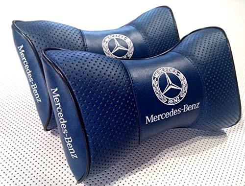 Cuscino poggiatesta 2 pezzi cuscino sedile auto in vera pelle a forma di osso con logo Mercedes-Benz poggiapolsi