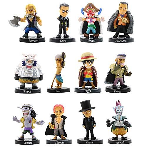 One Piece Figures Set 12 Stück Piraten Geburtstags Party liefert Cupcake Figuren Party Kuchen Dekoration Cake Topper Lieferungen Ruffy Shadow Tails Charaktere Figur für Kinder