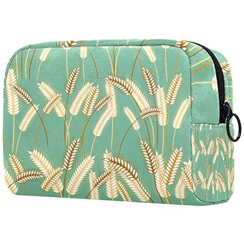 Mädchen Kosmetiktaschen Frauen Make-up Tasche Toilettenartikel Organizer Tasche mit Reißverschluss 7,3x3x5,1 Zoll Gerstengras