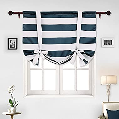 Deconovo Navy Blue Striped Blackout Curtains Rod Pocket Nautical Navy and Greyish White Striped Curtains Tie Up Curtain for Kids Room 46W X 63L Navy Blue 1 Panel
