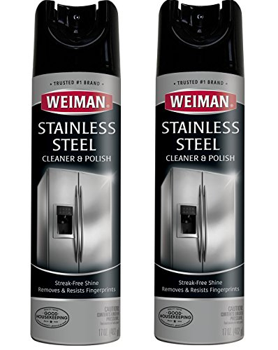 Weiman Stainless Steel Cleaner and Polish - 17 Ounce (2 Pack) - Non-Toxic Protects Appliances from Fingerprints and Leaves a Streak-less Shine for Refrigerator Dishwasher Oven Grill - 34 Ounce Total