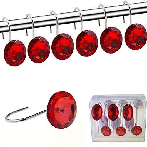 FINROS Shower Curtain Hooks Diamond Shape Shower Rings/Round Acrylic Decorative Rhinestones Bling Rolling Bathroom Bath Set of 12 Rings