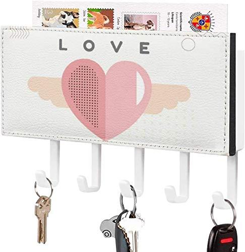 Gancho para llaves montado en la pared, clasificador de correo, soporte para llaves de correo de montaje en pared, organizador, línea de fuentes, decoración del hogar para el día de San Valentín, par