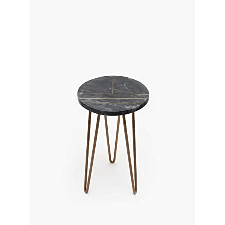 Casa Decor Marble Garden Table with Metal Hairpin Legs for Balcony, Living Room and Hallway Space Decor Outdoor Furniture