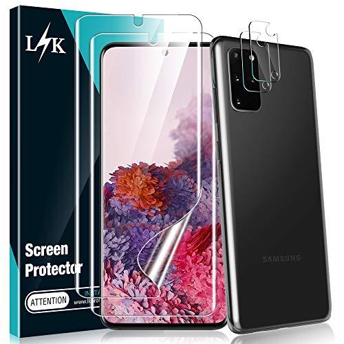 L K [4 Stück] 2 Stück Kamera Panzerglas für Samsung Galaxy S20 Plus + 2 Stück Schutzfolie, [Bubble Free] [Anti-Kratzer] HD Klar Kameraschutz Folie Gehärtetem Glas Displayschutzfolie
