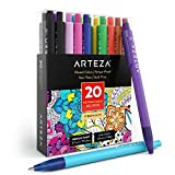 Arteza Retractable Gel Ink Pens, Set of 20 Assorted Colors, Fine Tip 0.7...