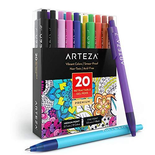 Arteza Bolígrafos de colores de tinta de gel | Juego de 20 colores surtidos | Bolígrafos de gel de punta retráctil fina de 0.7 mm