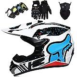 Casco MTB de Integral, Cascos Motocross Set con Gafas Máscara Guantes, Casco de Moto Niños, Casco de Motocicleta Adultos para BMX Quad Dirt Bike Downhill Enduro Sports - con Diseño FOX - Azul
