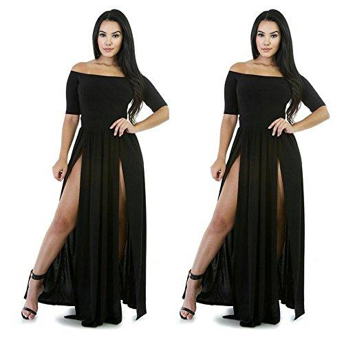 Vestidos de Fiesta Mujer Formal Sexy para Mujer, Vestido de Noche Largo para Dama de Honor Elegantes Negros Vestido de Cóctel Vintage Sexy Cocktail Dress (Negro, S)