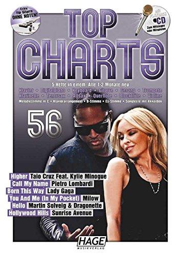 Top Charts 56 met Playback CD. Voor instrumenten in B, gitaar (met acordsymbolen), tekst & akkoorden piano, instrumenten in C, instrumenten.