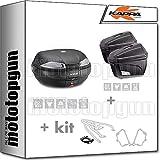 kappa maleta k53n + maletas laterales k22n + portaequipaje monokey + portamaletas lateral monokey compatible con triumph bonneville t100 2020 20