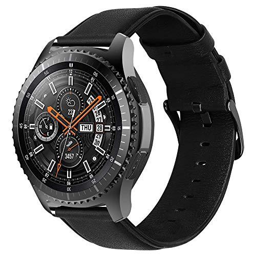 iBazal 22mm Correas Cuero Piel Pulseras Bandas Compatible con Samsung Galaxy Watch 46mm,Gear S3 Frontier Classic,Huawei GT/2 Classic,Ticwatch Pro Hombres Band (Reloj No Incluido) - Negro