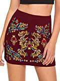 SheIn Women's Casual Floral Embroidered Bodycon Short Mini Skirt Burgundy S