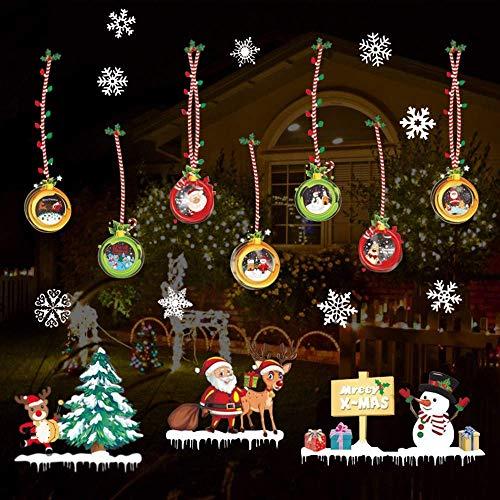 SanXingRui Pegatinas Navidad Copo Nieve Pegatinas Navidad Blancas Película Electrostática, Decoración del Hogar...