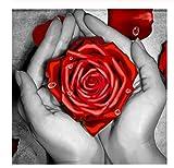 Diamante Mosaico Venta Flores Diamantes De Imitación Imágenes Diamante Bordado Diamante Pintura Taladro Cuadrado Completo Rosa Roja Kit 40X50 Cm