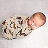 Sweet Jojo Designs Wild West Cowboy Baby Boy Swaddle Blanket Jersey Stretch Knit for Newborn or Infant Receiving Security - Red, Blue, Tan Western Southern Country Horse