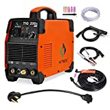 HITBOX 110V/220V Tig Welder 200A Dual Voltage Arc D/C Stick MMA Inverter IGBT Digital Welding Machine - 60% Ducty Cycle High Frequency Digital Control (Model: TIG 200A) (Renewed)
