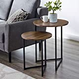 Walker Edison Furniture Company Modern Round Metal Base Nesting Set Side Accent Living Roo...